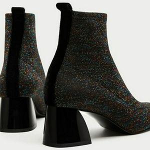 ☆ZARA multi-glitter Sock Booties